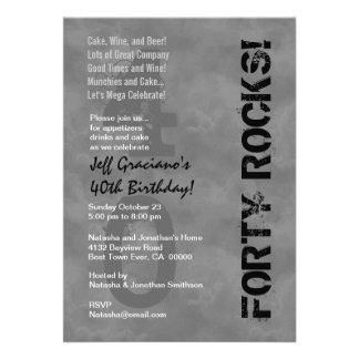 Forty Rocks! 40th Birthday Dark Gray Clouds Card
