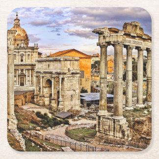 Forum Romanum per Orarium Square Paper Coaster