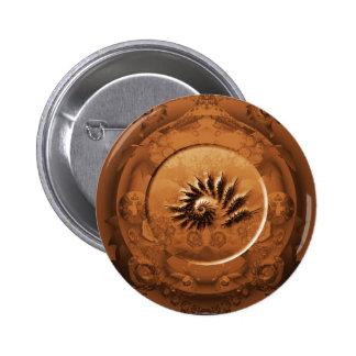 Fossil fractal mirror 6 cm round badge