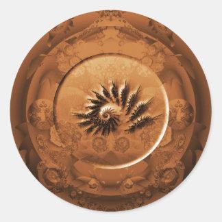 Fossil fractal mirror round sticker