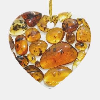 Fossil inclusions in Oligocene Dominican amber Ceramic Heart Decoration