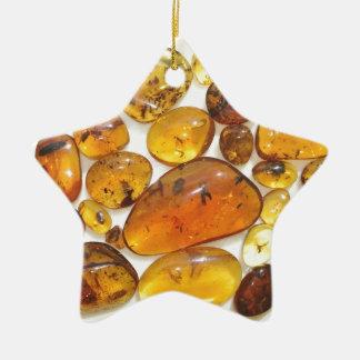 Fossil inclusions in Oligocene Dominican amber Ceramic Star Decoration