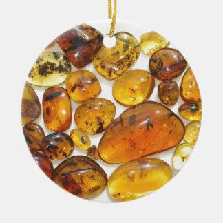 Fossil inclusions in Oligocene Dominican amber Round Ceramic Decoration