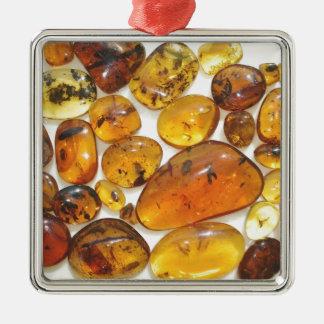 Fossil inclusions in Oligocene Dominican amber Silver-Colored Square Decoration