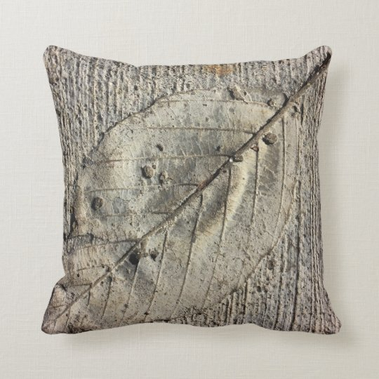 Fossil leaf throw pillow