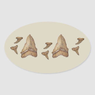 Fossil Shark Teeth Oval Sticker
