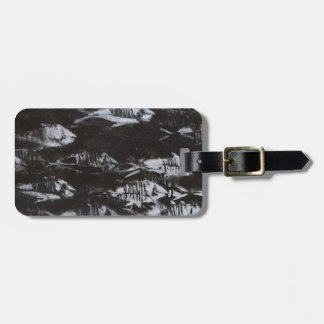 Fossil White Fish on Black Background Bag Tag