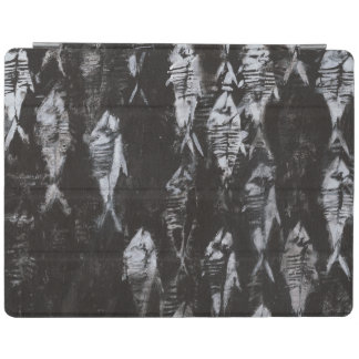 Fossil White Fish on Black Background iPad Cover