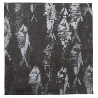 Fossil White Fish on Black Background Napkins