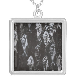 Fossil White Fish on Black Background Silver Plated Necklace