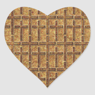 FOSSILIZED CROSSES GOLDEN HEART STICKERS