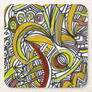 Fossils-Abstract Art Geometric Square Paper Coaster