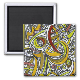 Fossils - Colorful Abstract Art Ink Drawing Square Magnet