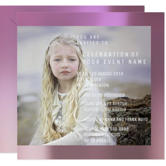 Foto Birthday Party Pink Rose Lilac Metallic Card