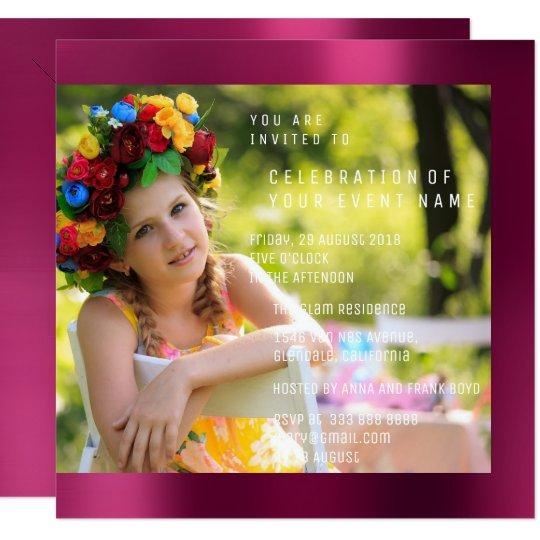 Foto Birthday Party Ruby Pink Metal Card