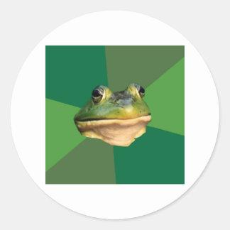 Foul Bachelor Frog Advice Animal Meme Round Sticker