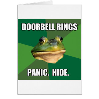 Foul Bachelor Frog Doorbell Rings Greeting Card