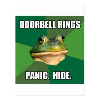 Foul Bachelor Frog Doorbell Rings Postcard