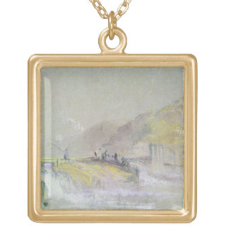 Foul by God: River Landscape with Anglers Fishing Gold Plated Necklace