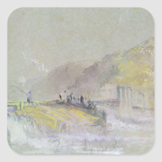 Foul by God: River Landscape with Anglers Fishing Square Sticker