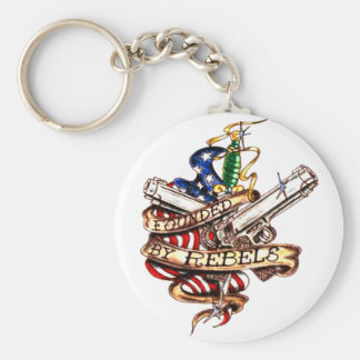 founded by rebels basic round button key ring