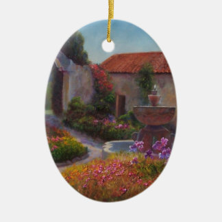 Fountain and Garden at Carmel Mission Christmas Ornament