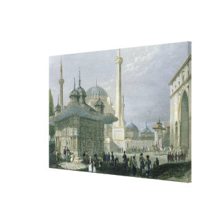 Fountain and Square of St. Sophia, Istanbul, engra Canvas Print