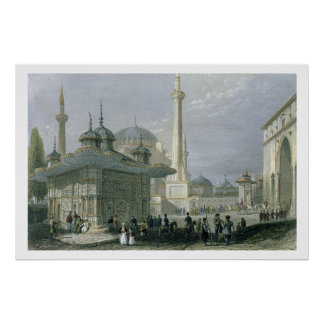 Fountain and Square of St. Sophia, Istanbul, engra Poster