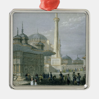 Fountain and Square of St. Sophia, Istanbul, engra Silver-Colored Square Decoration