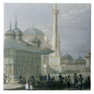 Fountain and Square of St. Sophia, Istanbul, engra Tile