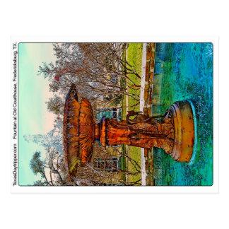Fountain at Old Courthouse, Fredericksburg, TX Postcard