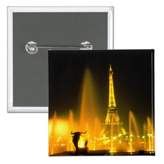 Fountain at the world famous Eiffel Tower Paris 15 Cm Square Badge