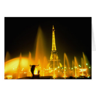 Fountain at the world famous Eiffel Tower Paris Card