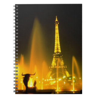 Fountain at the world famous Eiffel Tower Paris Notebook