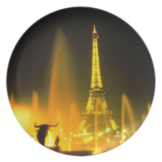 Fountain at the world famous Eiffel Tower Paris Plate