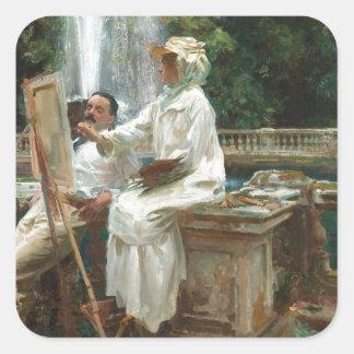 Fountain at Villa Torlonia Square Sticker