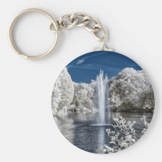 Fountain in Infrared Basic Round Button Key Ring