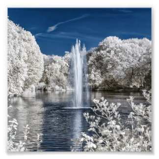 Fountain in Infrared Photo Print