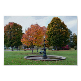 Fountain in Lyndonville, Vermont, Bandstand Park Poster