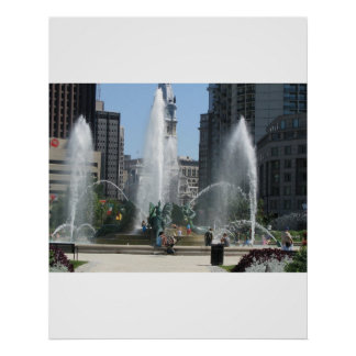 Fountain in the City of Philadelphia Poster