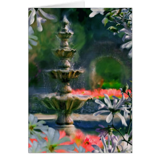 fountain in the flowers card