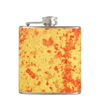 Fountain lava erupting from crater active volcano hip flask