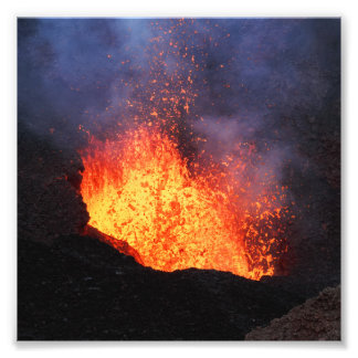 Fountain of hot lava eruption from crater volcano photo print