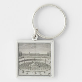 Fountain of Latone at Versailles, 1714, from 'Les Silver-Colored Square Key Ring