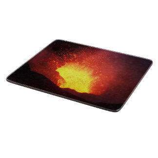 Fountain of lava eruption from crater of volcano cutting board