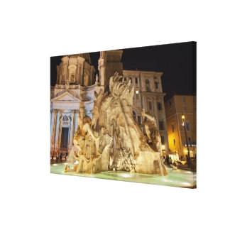 Fountain of the 4 Rivers, Piazza Navona, Rome Canvas Print