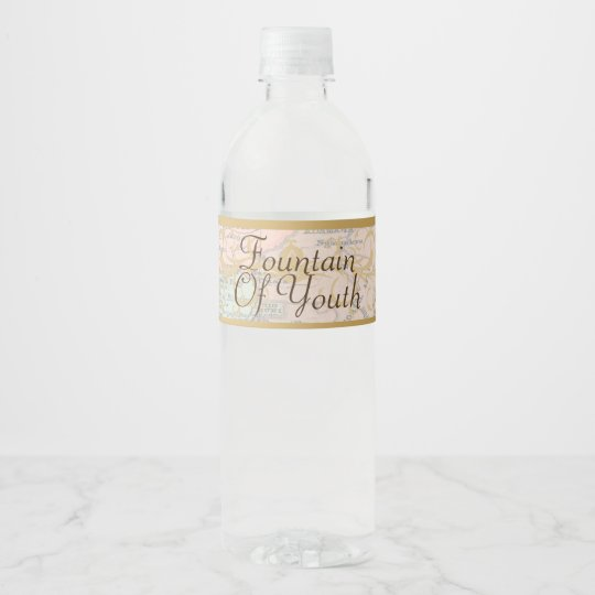Fountain of Youth Old World Water Bottle Label
