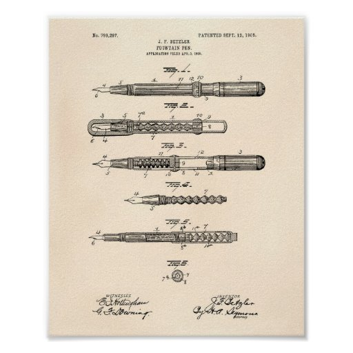 Fountain Pen 1905 Patent Art Old Peper Poster