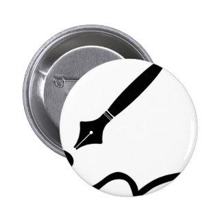 Fountain Pen 6 Cm Round Badge