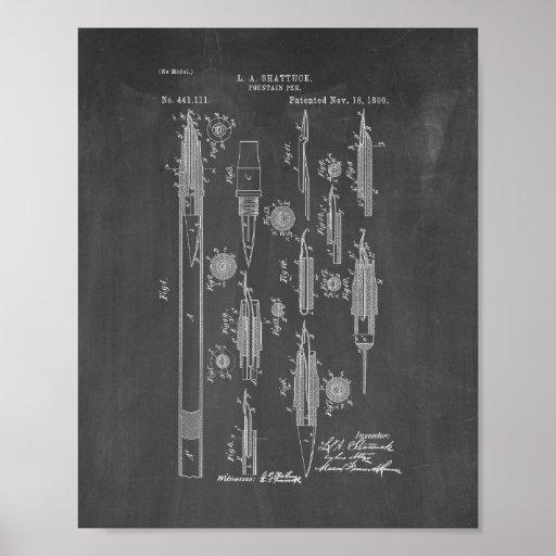 Fountain Pen Patent - Chalkboard Poster